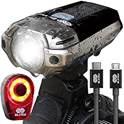 USB Rechargeable Bike Light - Blitzu Gator 390 Lumens Headlight - Front Light & LED Bike Tail Light Set. Waterproof - Cycling Safety Commuter Flashlight For Mountain Road, Kids and City Bicycle BLACK