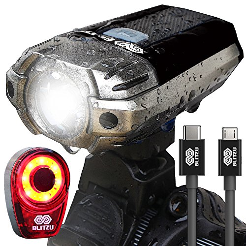 Cycling Headlight - BLITZU Gator 390 USB Rechargeable LED Bike Light Set, Bicycle Headlight Front & Free Rear Back Tail Light. Waterproof, Easy to Install for Kids Men Women Road Cycling Safety Commuter Flashlight Black