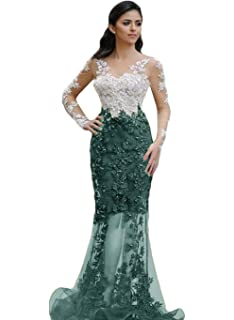 The Peachess Applique Mermaid Evening Dresses Long Sleeves Sheer Neck Prom Gowns