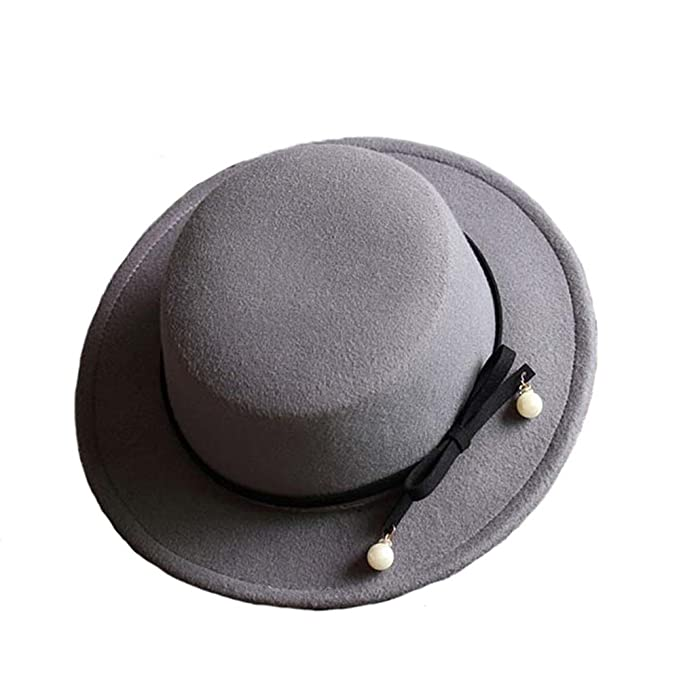 Donna Ragazze Moda Autunno Inverno Perla Fiocco Nodo Retrò Cappello Di  Panama Cappello A Cilindro Grigio c82c089a92ff