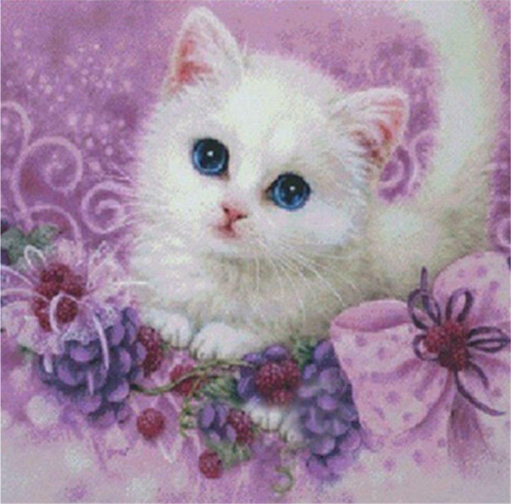 Yeesam Art New 5D Diamond Painting kit –  Little White Cat 30 * 30 –  DIY cristalli strass pittura incollato vernice di numero kit ricamo a punto croce