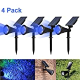 T-SUN Solar LED Outdoor Spotlight Wall Light,IP65 Waterproof,Auto-on At Night/Auto-off By Day,180°angle Adjustable for Tree,Patio,Yard,Garden,Driveway,Stairs,Pool Area (4pack) (Blue-4)