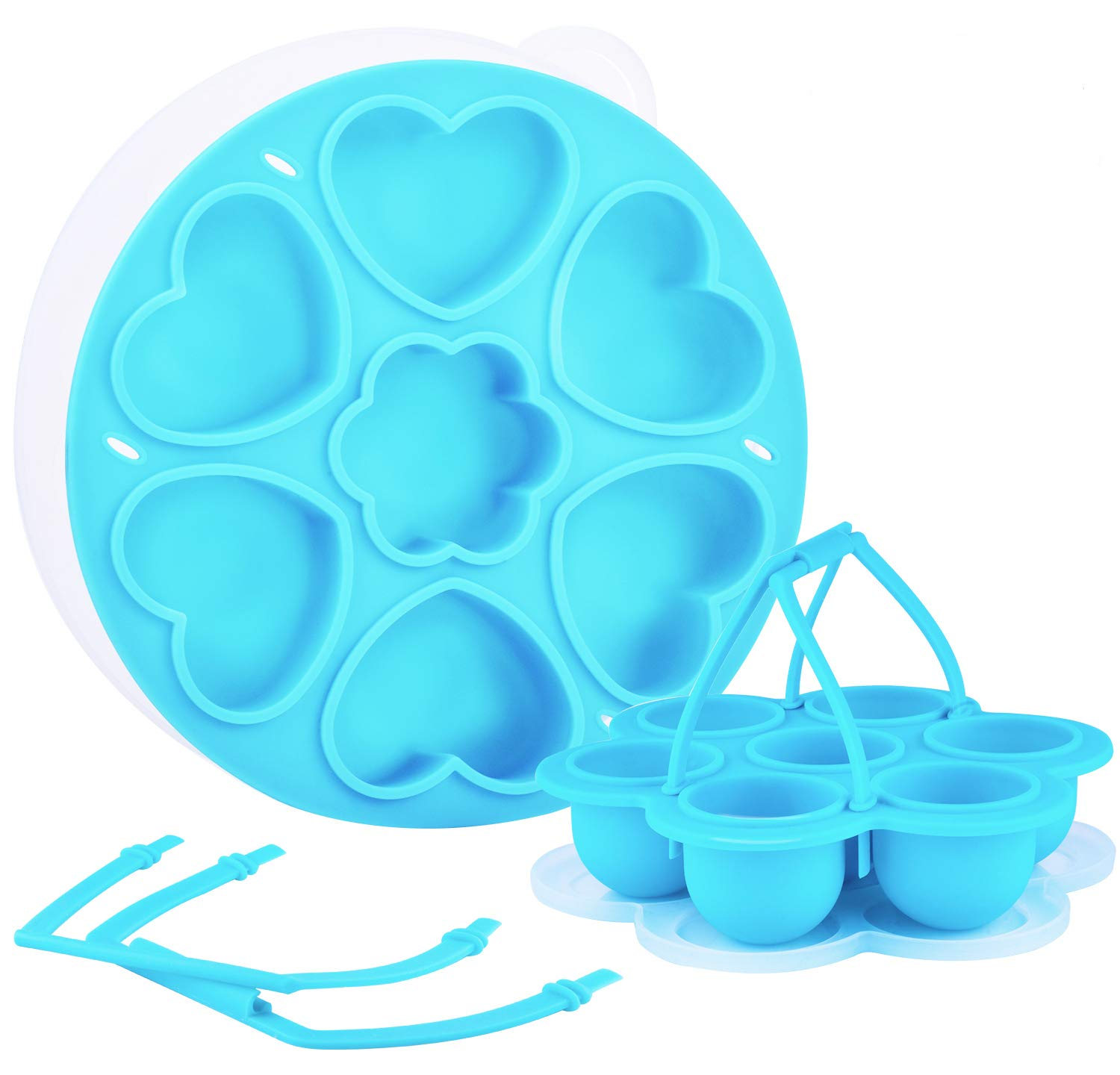 2 Pack Silicone Egg Bites Mold for Instant Pot Accessories - Round & Heart Shape, FDA Aprroved - Egg Cooker & Egg Poacher for 5, 6, 8 qt Instant Pot Pressure Cooker/ Microwave (Blue)