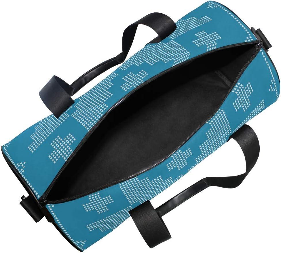 MALPLENA Blue Trend Floral Printing Drum gym duffel bag women Travel Bag