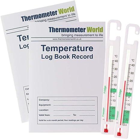 Pack de 2 libros de registro de temperatura de 6 meses y 2 ...