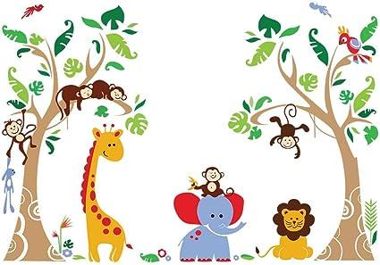 Decalmile Wandtattoo Dschungel Tiere Und Baum Wandsticker Elefant Affe Giraffe Wandaufkleber Babyzimmer Kinderzimmer Schlafzimmer Wanddeko Amazon De Kuche Haushalt
