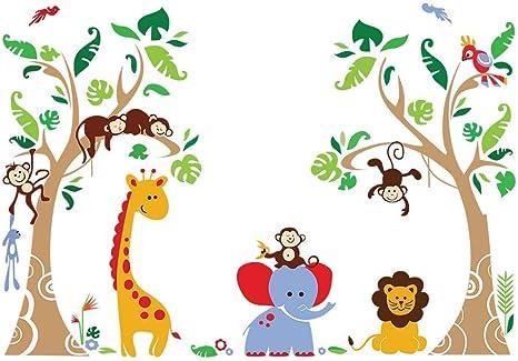decalmile Wandtattoo Tiere in Hei/ßluftballons Wandaufkleber Elefant Giraffe AFFE Wandsticker Babyzimmer Kinderzimmer Schlafzimmer Wanddeko