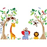 decalmile Tree and Jungle Animal Wall Decals Monkey Giraffe Elephant Wall Stickers Home Decoration Baby Nursery Kids…