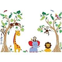 decalmile Boom en Jungle Dieren Muurstickers Aap Giraffe Olifant Muurtattoo Baby Kinderkamer Babykamer Kinderen…