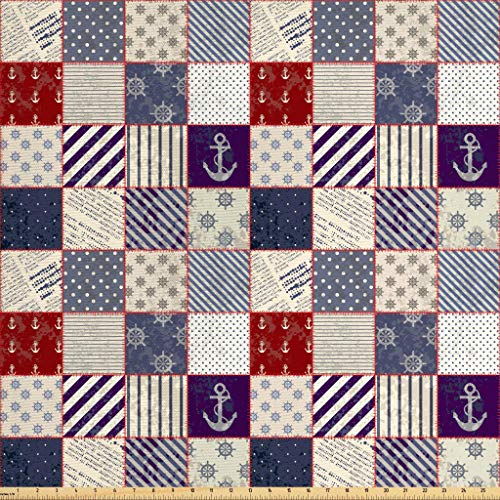 (Lunarable Nautical Fabric by The Yard, Maritime and Nautical Life Design with Vintage Sailor Knots and Anchor Motifs, Decorative Fabric for Upholstery and Home Accents, 2 Yards, Beige Blue)