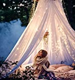 Basik Nature Cute College Dorm Decor Bundle of A Round Mosquito Net Canopy with Fairy Lights 33 ft Set (1)