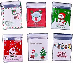 SMYLLS 120 Pcs Self Adhesive Christmas Candy Cookie Bags 6 Different Pattern for Bakery Biscuit Chocolate Snacks Dessert Homemade Crafts (Merry Christmas)