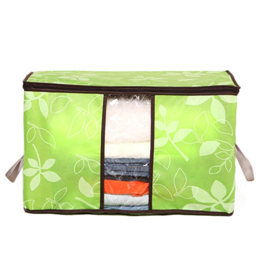 Storage Organizer Flower Printed Quilt Storage Bags See-through Collapsible Storage Bags By Orangeskycn (Greeen)