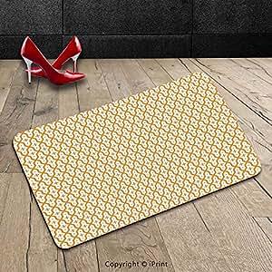 Custom lavable Felpudo (abstracto Ilustración Vectorial árabe Seamless Patrón Decoración para el hogar impresión canela y blanco para interiores/al aire libre Felpudo alfombra alfombra alfombra