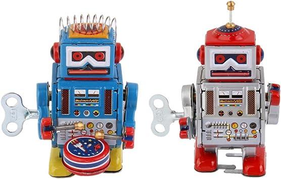 2 Piezas Juguete de Hojalata de Cuerda Modelo Robot Rojo/Azul Juego de Diversión Regalo de Broma para Niños: Amazon.es: Juguetes y juegos