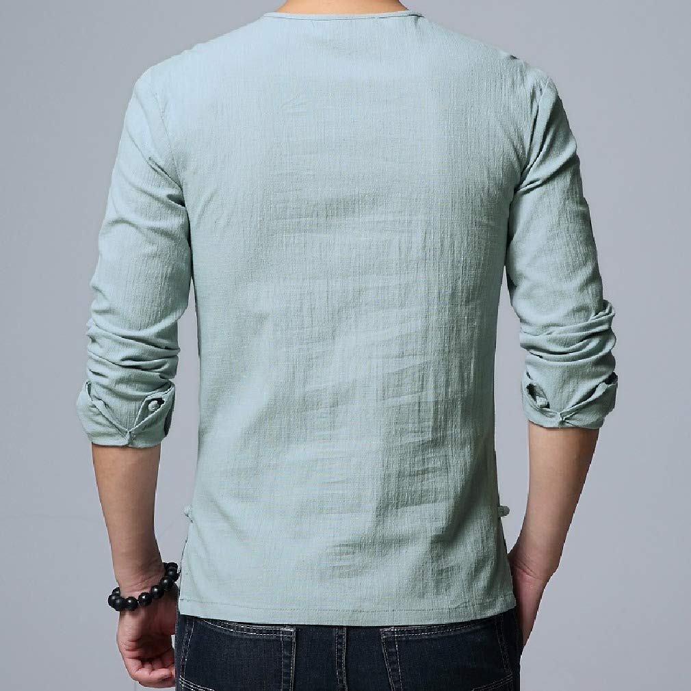 Abetteric Mens Retro Silm Fit Spring//Fall Long-Sleeve Chinese Tunic Suit Tees