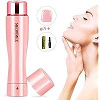 Depiladora de Vello Facial para Mujer, MEOWMEE Afeitadora sin dolor para Mujer con Luz Led Incorporada Batería y Bolsa Impermeable Depiladora Eléctrica Depiladora para Mujer Mini Recortadora (Rosa)
