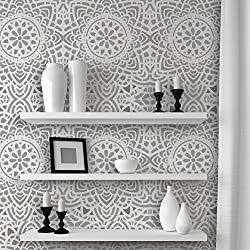 J BOUTIQUE STENCILS Wall Lace Decorative Stencil Madalyn Allover Reusable for DIY Wall Decor