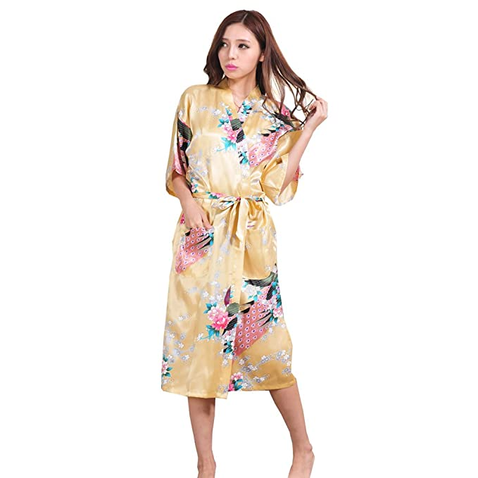 TT Global Mujer Vestido Kimono Corto Pijama Bata Satén Estampado Flores Lenceria Albornoz 3/4