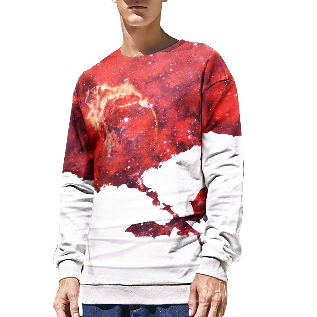 ✦HebeTop✦ Unisex 3D Realistic Printed T-Shirts Crewneck Long Sleeve Tops Pullover Sweatshrits Red by HebeTop➟Men's Clothing