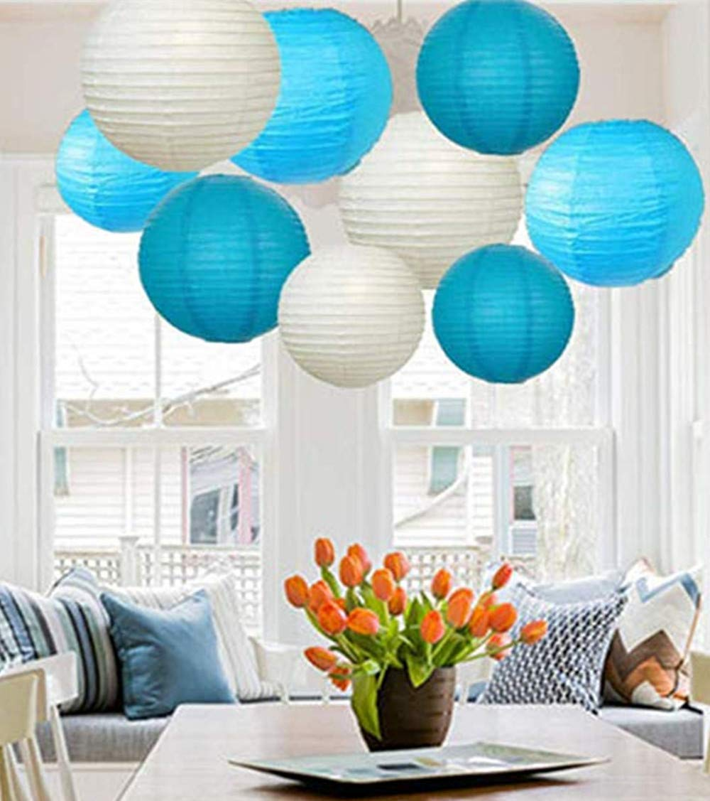 9 PCs Mixed New Round Paper Lanterns Lamp Shade Wedding Birthday Party Decor by A LIITTLE TREE (White Shade)