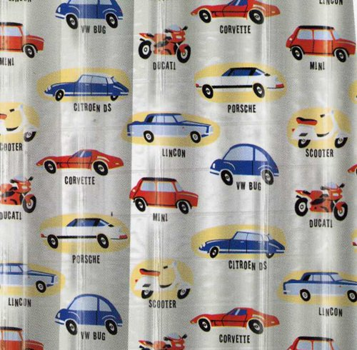 Amazon.com: Classic Cars Vinyl Shower Curtain Porsche, Corvette ...