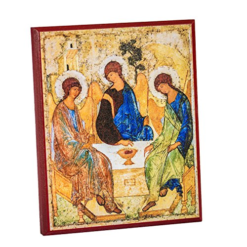 Holy Trinity (Rublev) Icon Mounted on Wood (8x10)