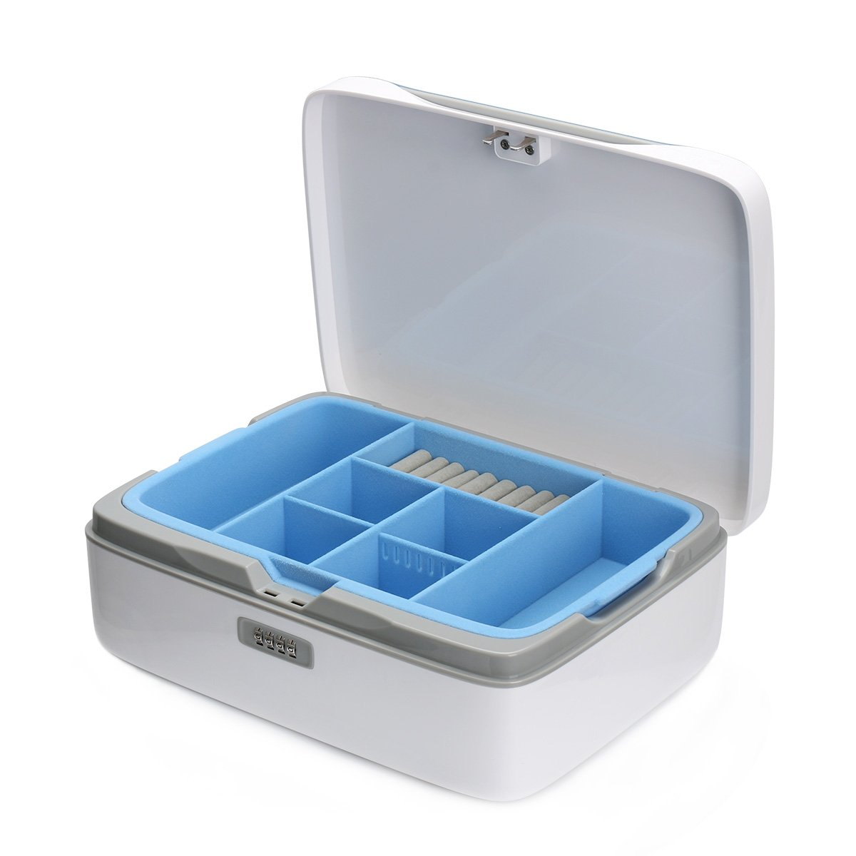 Jewelry Box Organizer Locable Storage Case Drawer 2 Layers Holder Cabinet Combination Necklace Earrings Expensive Display CaseJewellery Box Organizer Locable Storage Case Drawer 2 (jewelry box Blue) by EVERTOP (Image #8)