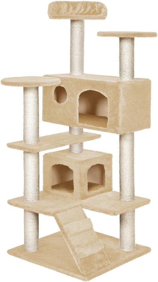 TecTake Rascador para Gatos Árbol para Gatos Trepar Sisal Juguetes (Beige | no. 400575)
