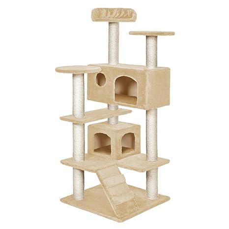 TecTake Rascador para Gatos Árbol para Gatos Trepar Sisal Juguetes (Beige | no. 400575
