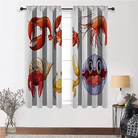 Youxianhome Crabs Blackout Curtain Illustration Of Sea Animals Like Crab Hermit Crab Lobster Shells Shrimp Print Lush Decor Orange Yellow 48 X 72 Inch 2 Panels Home Kitchen