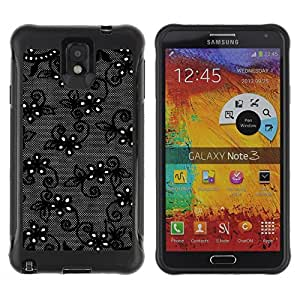 All-Round Hybrid Rubber Case Hard Cover Protective Accessory Compatible with SAMSUNG GALAXY NOTE 3 - black flowers night decorative