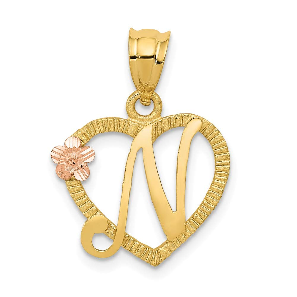 14k Two-tone Gold Initial N in Heart Charm