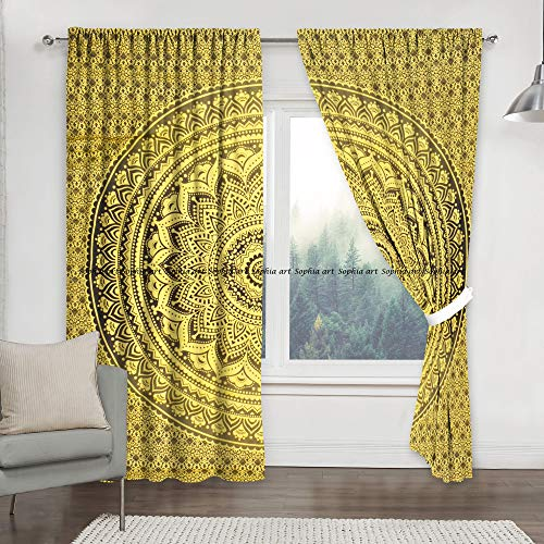 Indian Tye Dye Ombre Tapestry Living Room Shower Curtains For Bedroom Room Darkening Blackout Curtains, Hippie Balcony Sheer Room Divider Window Treatments & Valances Handmade Door Curtain 2 Panel Set