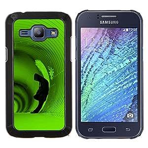 """Be-Star Único Patrón Plástico Duro Fundas Cover Cubre Hard Case Cover Para Samsung Galaxy J1 / J100 ( Túnel Profundo con capucha hombre verde Sola"""" )"""