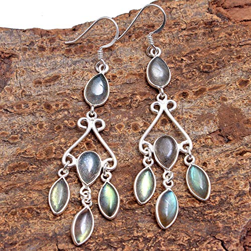 Feminine Labradorite Gemstone Women Dangle Earring - 925 Sterling Silver Jewelry Vintage Silver Jewelry ()
