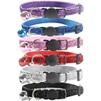 Kobwa Reflective Cat Collar with Bell, 6 PCS Beautiful Cat Breakaway Collars, Safe Adjustable Nylon Strap to Fit All Cats & Larger Kittens