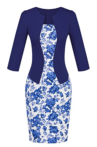 YMING Womens Colorblock Wear to Work Business Bodycon One-piece Dress