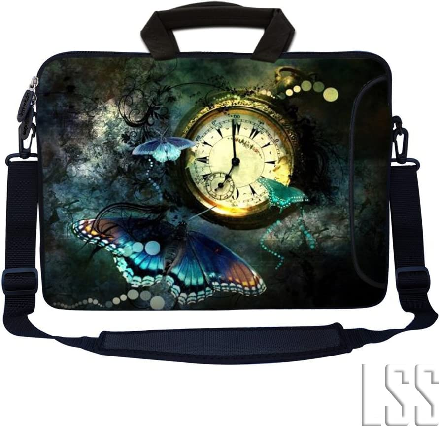 "LSS 13.3 inch Laptop Sleeve Bag Notebook with Extra Side Pocket, Soft Carrying Handle & Removable Shoulder Strap for 12"" 12.1"" 13"" 13.3"" Apple MacBook Air, GW, Acer, Aspire Asus, Dell, HP, Sony, Toshiba, Samsung - Clock Butterfly Floral"
