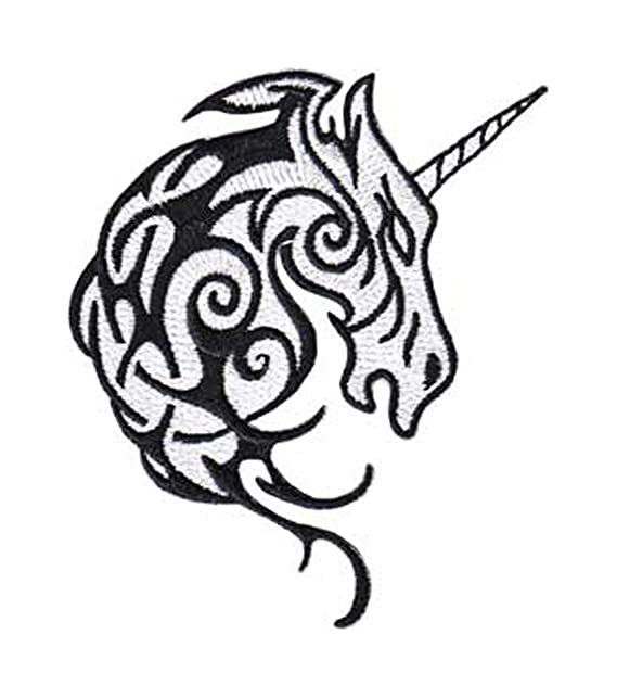 befd2491a Fantasy Animals Iron on Patch - Unicorn Tribal Head Tattoo Design Applique:  Amazon.ca: Clothing & Accessories