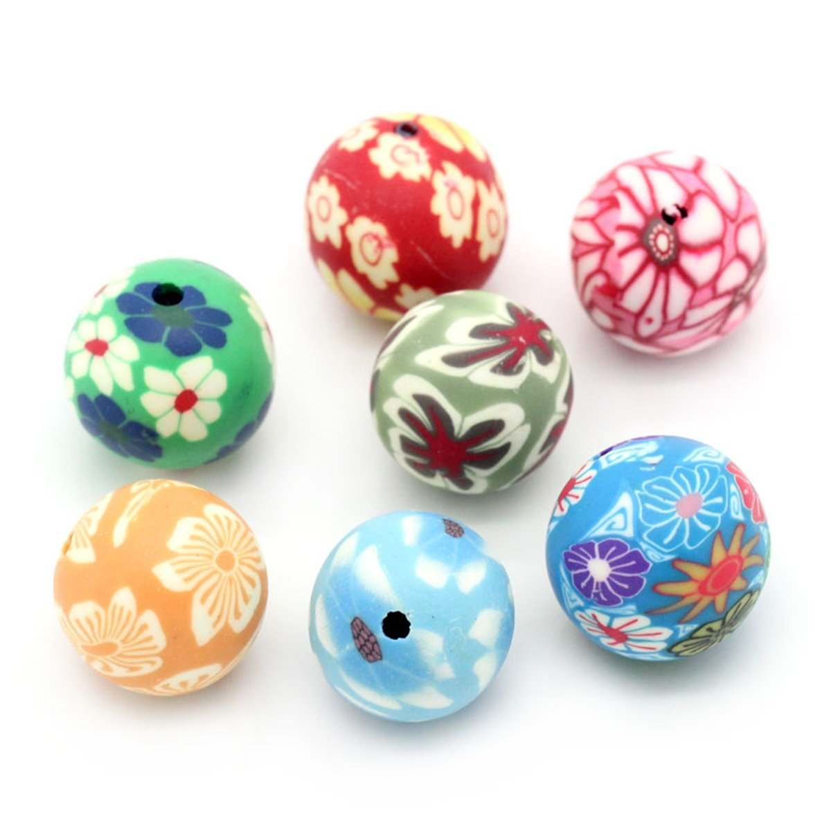 YF 30PCS Mixed Polymer Clay Pattern Printed Round Spacer Beads Charm for DIY Jewelry Making Findings 12-13mm