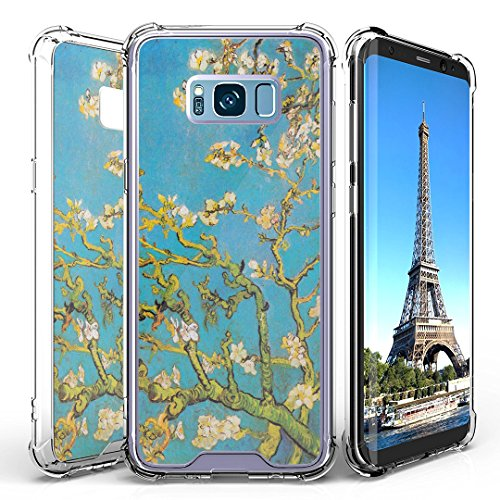Galaxy S8 Case, DuroCase AquaFlex Shockproof TPU Bumper w/ Hard Plastic Back Shield 2in1 Hybrid Case (Clear) for Samsung Galaxy S8 SM-G950 (Released in 2017) - (Blossoming Almond Tree)