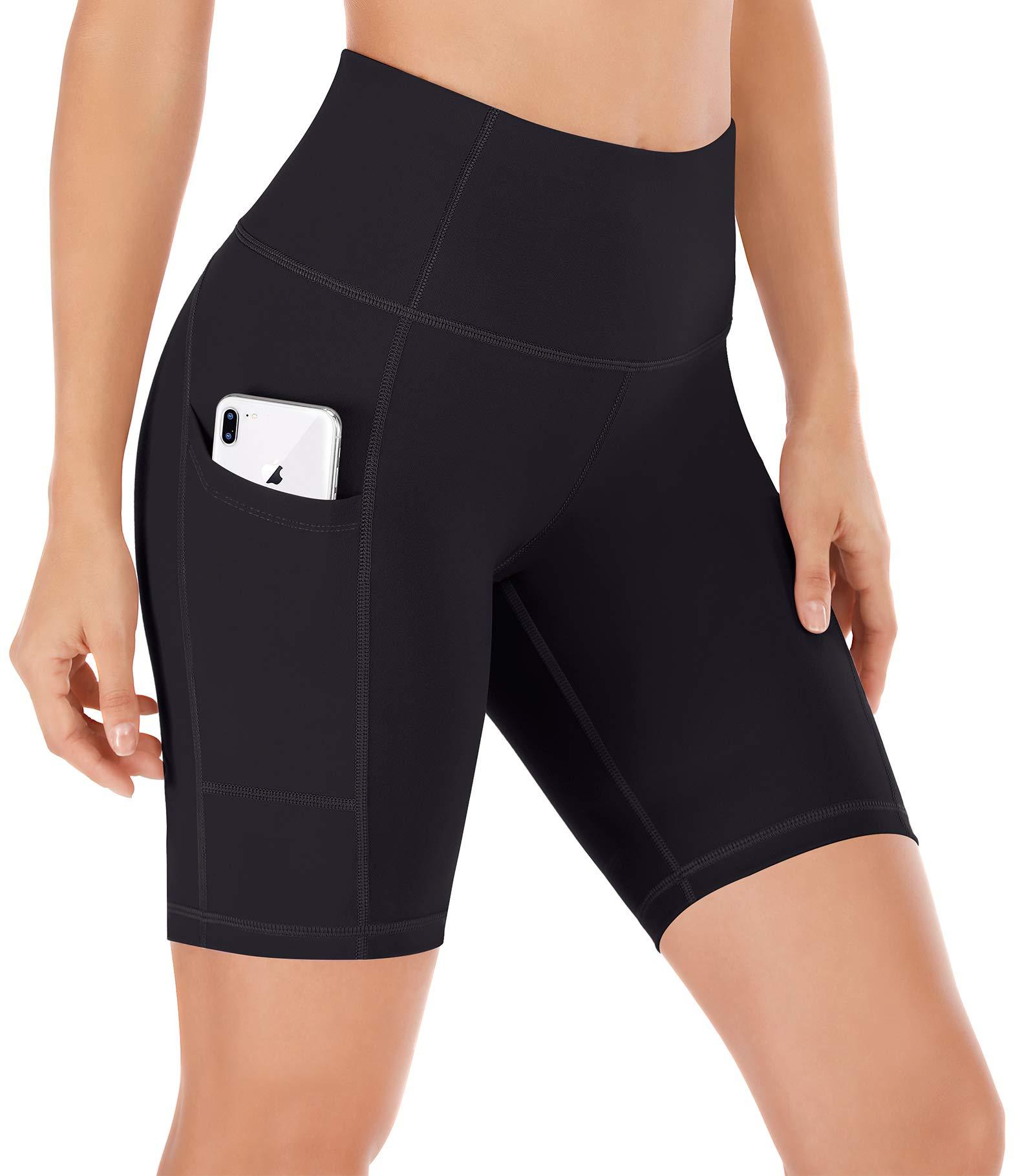 Ewedoos Women Shorts with Pockets - High Waist Running Shorts Women Workout Non See-Through Yoga Shorts (EW321 Black, X-Small) by Ewedoos