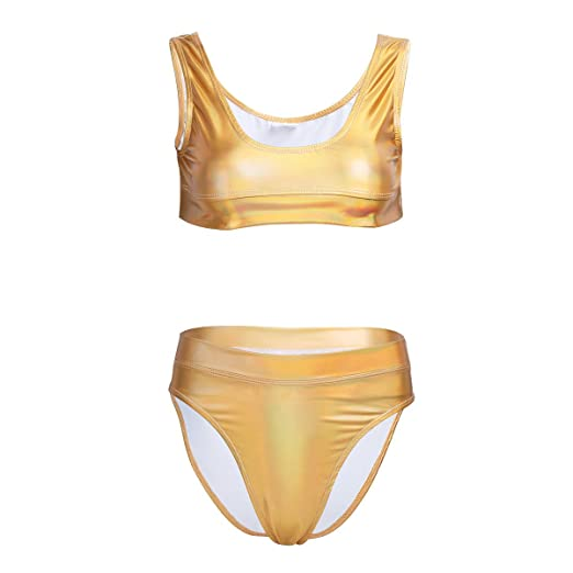 425915fc539205 Alvivi 2Pcs Women Shiny Metallic Patent Leather Bikini Crop Top with High  Waist Thong Set Swimsuit