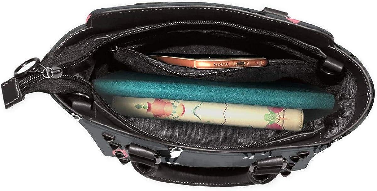 RJRA Cactus Damen Handtasche mit Aquarell-Muster, Hobos, Leder, Nieten-Schultertasche, groß Boston Terrier Love Hearts
