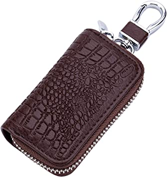 Black//Brown PU Leather Remote Key Fob Case Holder Bag Cover W