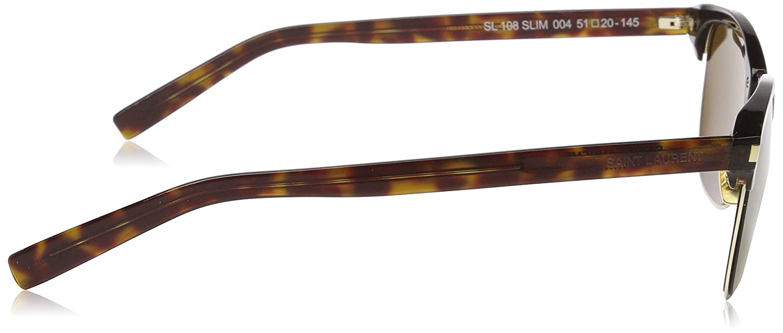 Saint Laurent SL 108 SLIM Sunglasses 004 Havana Brown Lens 51 mm