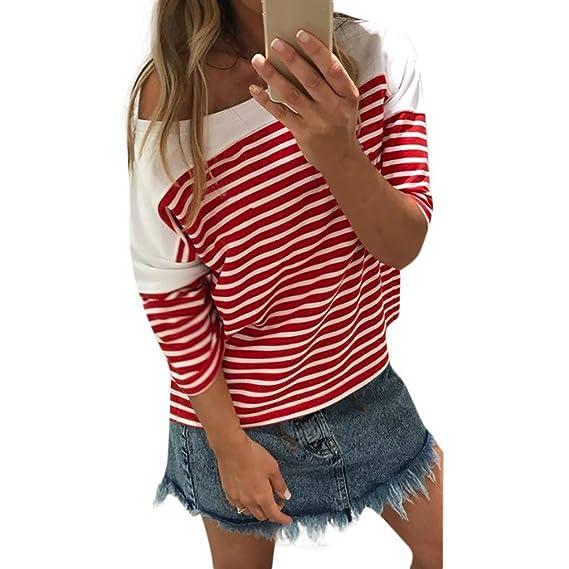 edf149d0d17 Sunnywill Camisetas Mujer Tallas Grandes Rayas Verano Originales Blusa  Mujer Elegante Manga Largo Algodón Otoño Fiesta Camisas T Shirt Women Tops  Invierno ...