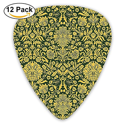 Newfood Ss Victorian Baroque Flower Motifs With Swirl Petals And Branches Print Guitar Picks 12/Pack Set