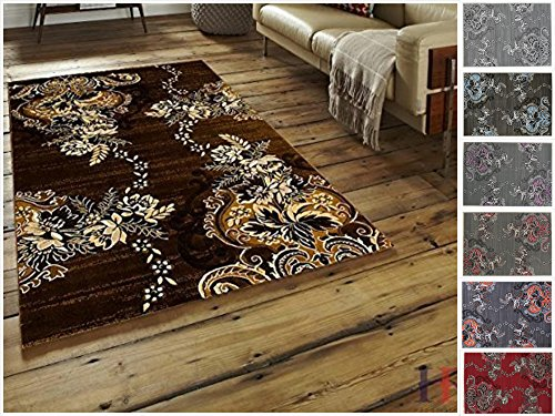 Handcraft Rugs Chocolate Brown/Beige/Mocha/Ivory/Abstract Area Rug Modern Contemporary Flower-patterned Design
